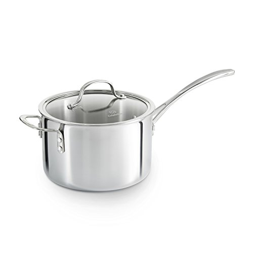 Exterior Cast Aluminum Dutch Oven - Calphalon Tri-Ply Stainless Steel Cookware, Sauce Pan, 4 1/2-quart