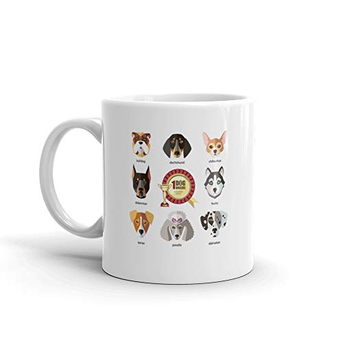 Dogs Set Icon Head Muzzles Breed Bulldog Dachshund Husky Chihuahua Dalmatian Doberman Terrier Poodle Jack Russell Funny Mugs Cups Ceramic 11oz
