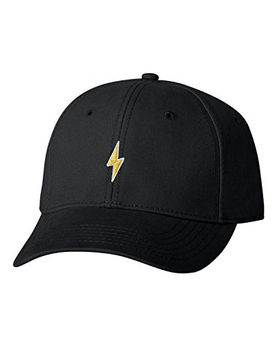 Adjustable Black Adult Lightning Bolt Embroidered Dad Hat Structured Cap