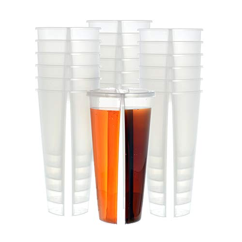 20 sets 22 ounce Heart-shaped Clear Plastic Drink Cups with Lids - Double Enjoy Bubble Tea Cup, Smoothie Cup, Coffee Cup, Twins Cup, Split Cup, BPA-Free Polypropylene (PP) Cup