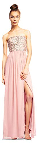 Aidan Mattox Strapless Georgette Dress with Beaded Bodice, Rose, 8