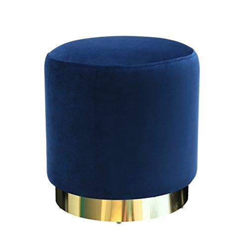 Poly and Bark Siri Velvet Ottoman, Blue (Velvet Ottoman Round)