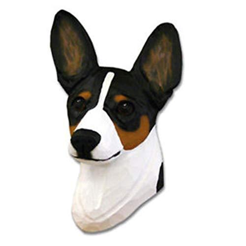 Ky & Co YesKela Rat Terrier Head Plaque Figurine Tri - Figurine Rat Terrier