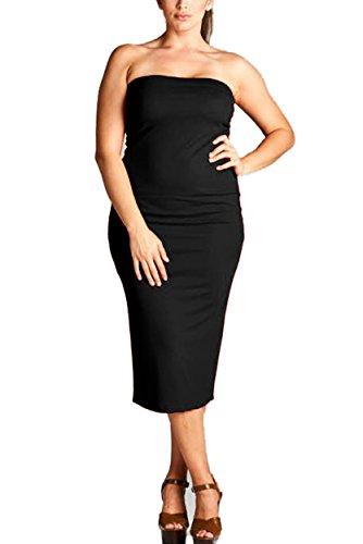 VVK Womens Plus Size Summer Bodycon Strapless Slim Fitted Basic Midi Tube Dress 04XD BLACK