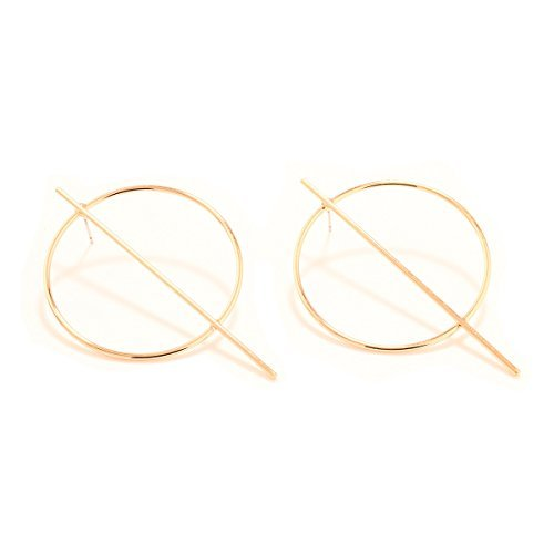Geerier Gold Circle Stud Earrings Big Hoop Bar Stud Earrings Simple Circle Ring Earring Gift for ()