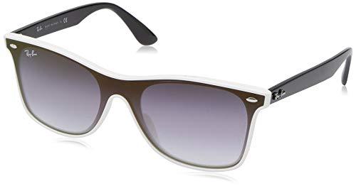 Ray-Ban RB4440NF Blaze Wayfarer Sunglasses, White Demishiny/Violet Blue Gradient Mirror, 44 ()