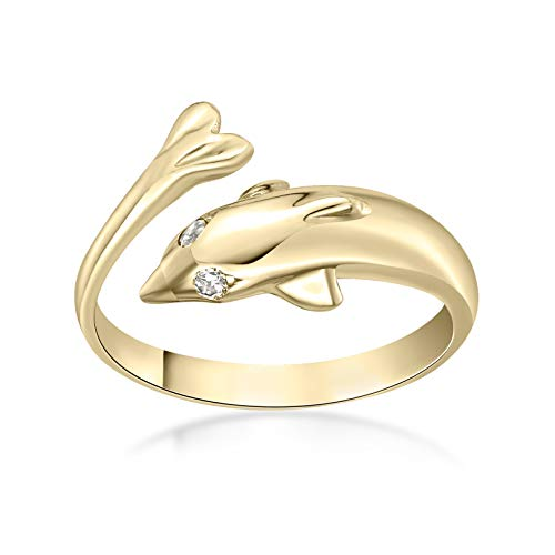 Lavari - 10K Yellow Gold Dolphin Cubic Zirconium Toe Ring Adjustable