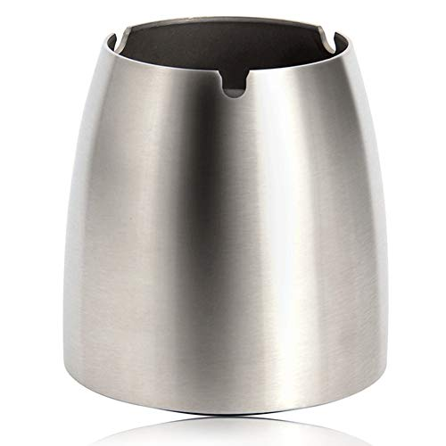 (YANZHEN Trash Bin Ashtray Table with Smoke Column Leaves No Fingerprints Small Multifunction Wear Resistant 201 Stainless Steel (Color : Silver, Size : 10x11cm))
