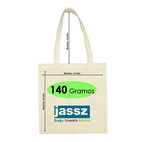 Bolsa 100% algodon Jassz natural asas largas de 140 grs/m2 ...