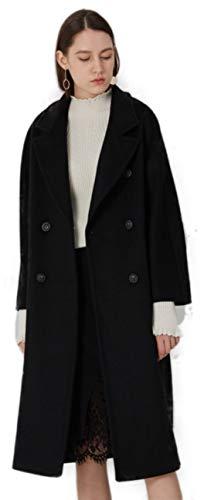 Women's Double Breasted Drop Shoulder Wool Blend Coat Black ()