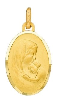 Medaille ovale vierge a l'enfant or 750