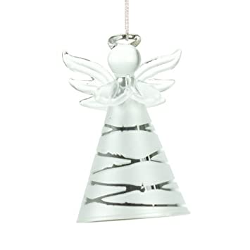 silver glass angel christmas tree decoration - Angel Decorations