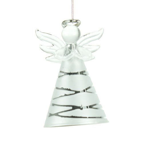 Silver Glass Angel Christmas Tree Decoration: Amazon.co.uk: Kitchen ...