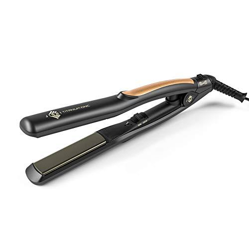 Jinri Travel Hair Straightener, 360° Swivel Cord Flat Iron, Ceramic Tourmaline PTC Flashing Heating and Automatically Shutoff Straightener Dual Voltage for Travel Black Straightener