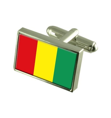 Guinea Flag Cufflinks Personalised Engraved Keepsake Box