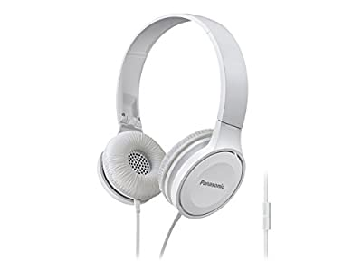 Panasonic Over-the-Ear Stereo Headphones RP-HF100M-W (White) Integrated Mic and Controller, Travel-Fold Design, Matt Finish (White (5-Pack))