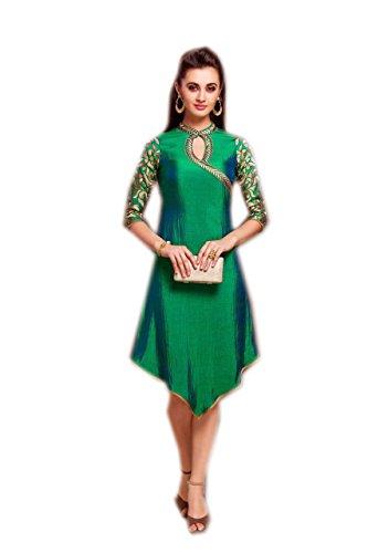 Jayayamala Ladies Green Tunique brodée, Tunique de coton soie Femme, Tunique de coton pour dames, Tunique d'été, Tunique de plage, Beach Cover up