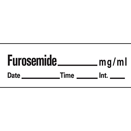 PDC Healthcare AN-134 Anesthesia Tape with Date, Time and Initial, Removable, Furosemide mg/mL, 1'' Core, 1/2'' x 500'', Imprints White 333 (Pack of 1) by PDC Healthcare (Image #1)
