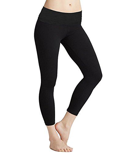 Roll Down Mid-Calf Yoga Legging by Hard Tail (Black, Small) ()