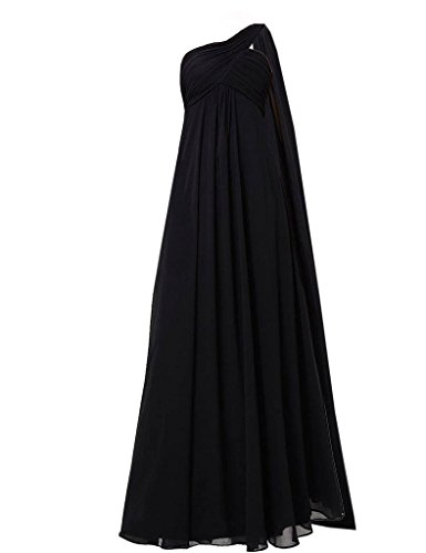 Shoulder Black Chiffon Bridesmaid Fanciest Weddings Dress One Lang Lavender Damen for UEqv4vwp
