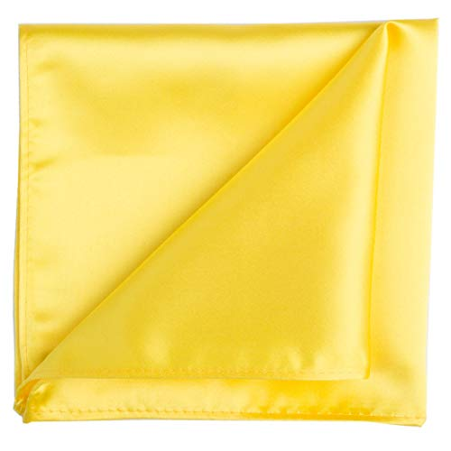 (KissTies Canary Yellow Pocket Square Mens Satin Handkerchief + Gift)