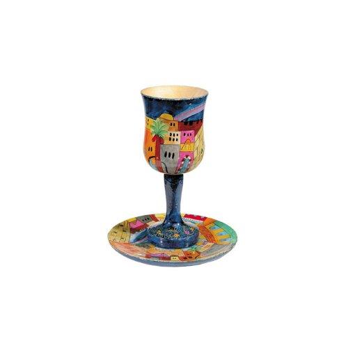 Jerusalem Kiddush Cup - Yair Emanuel Wooden Kiddush Cup Set with Jerusalem Vista