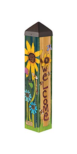 Studio M Peace Garden Art Pole Inspirational Meditation Outdoor Decorative Garden Post, Made in USA, 20 Inches Tall