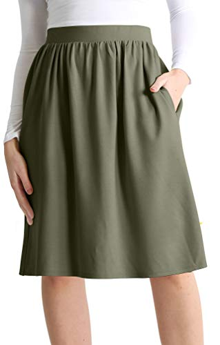 Olive Green Skirts for Women Gathered Skirt Flowy Skirts for Women Olive Skirt a Line Skirt Aline Skirts for Women (Size Small US 2-4, - Skirt Gathered Waist