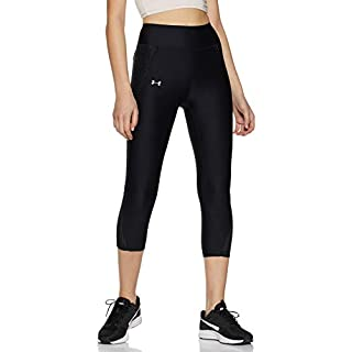 Under Armour Women's Fly-By Printed Capri,Black /Reflective, X-Small