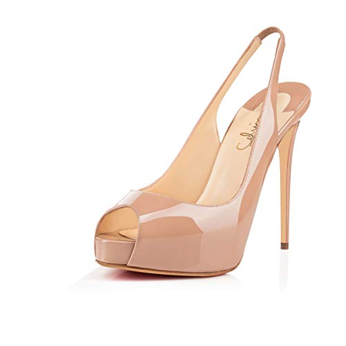 Women's Peep Toe Slingback Sandals Hidden Platform Pumps 5