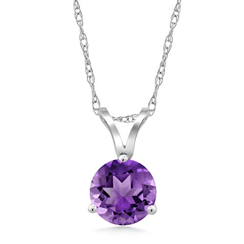 Gem Stone King 1.00 Ct Round Purple Amethyst 18K White Gold Pendant With Chain ()