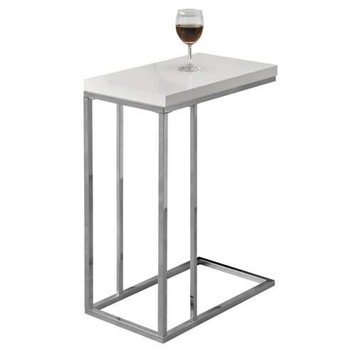 Monarch Specialties I 3008, Accent Table, Chrome Metal, Glossy White ()