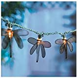 Luckytown Home Product Four Seasons Courtyard AC-176-BLK-FS Metal Dragonfly String 10 Light Set