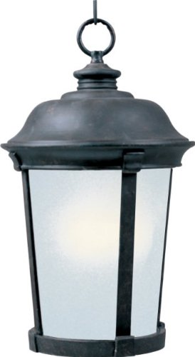 Maxim 85099FSBZ Dover EE 1-Light Outdoor Hanging Lantern, Bronze Finish, Frosted Seedy Glass, GU24 Fluorescent Fluorescent Bulb , 60W Max., Wet Safety Rating, Standard Dimmable, Glass Shade Material, 1344 Rated ()