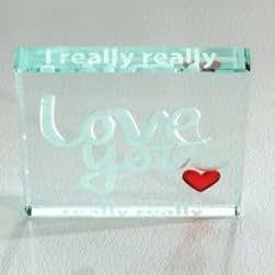 I Really Really Love You Glass Token - Sentimental, Affirmation Romantic, Spaceform Keepsake - Christmas, Birthday, Valentine'S Day Gift