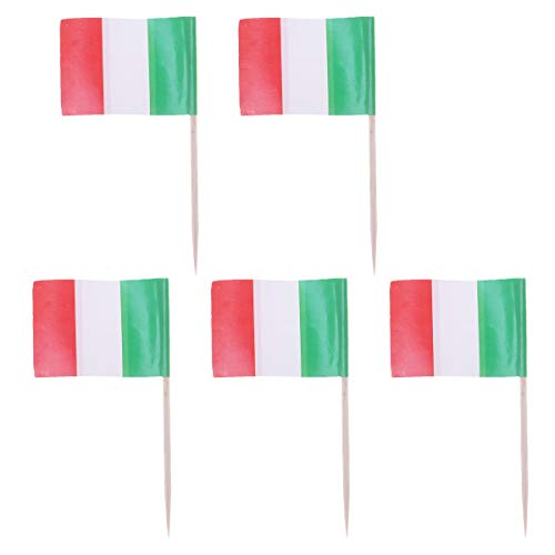 100pcs Italy Flag Shape Picks Cake Toppers Decorative Cupcake Muffin Food Fruit Picks Halloween Festival Birthday Party Favors Supplies (3.52.56.5cm) -