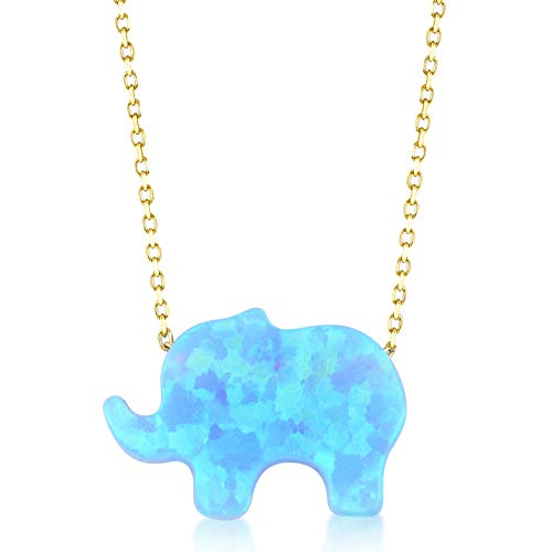GELIN 14k Solid Gold Opal Elephant Good Luck Pendant Chain Necklace for Women, 18