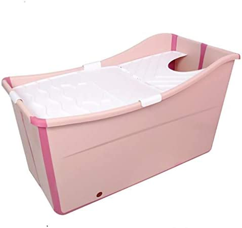 大人/シニアスパ強化、ロング断熱時間を持つためのポータブルコーナーバスタブプール (Color : Pink)