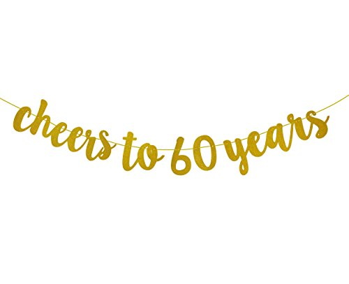 FECEDY Gold Glitter Cheers to 60 Years Banner for 60th Birthday Party -