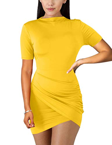 - BORIFLORS Women's Sexy Wrap Front Long Sleeve Ruched Bodycon Mini Club Dress,Medium,Yellow