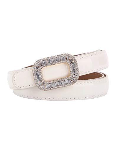 White Leather Rhinestone - 【CaserBay】Women's Fashion Elegant Shiny Rhinestone Buckle Skinny Patent Leather Belts Waistband【White】
