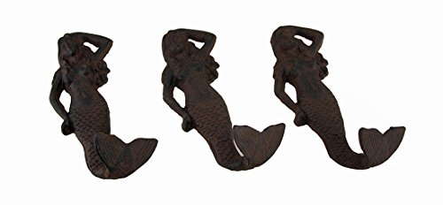 Weathered Cast - Zeckos Cast Iron Decorative Wall Hooks Set Of 3 Cast Iron Mermaid Weathered Finish Decorative Wall Hooks 3 X 6 X 1 Inches Rust
