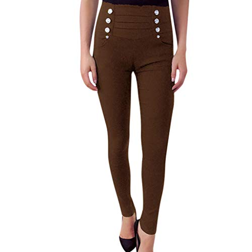 (JOFOW Womens Skinny Pants Long Solid Double Breasted High Waist Casual Militay Stretch Tapered Slim Pencil Trousers)
