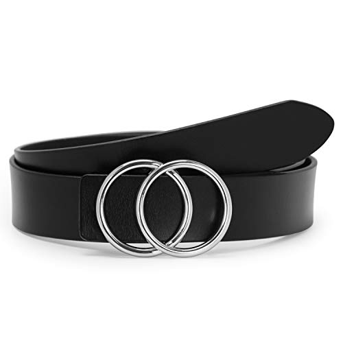 Black Women Leather Belt with Silver Double Ring Buckle,SUOSDEY Fashion Belts for Women Plus Size (Best Plus Size Fashion)