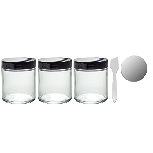Clear Thick Glass Straight Sided Jar - 4
