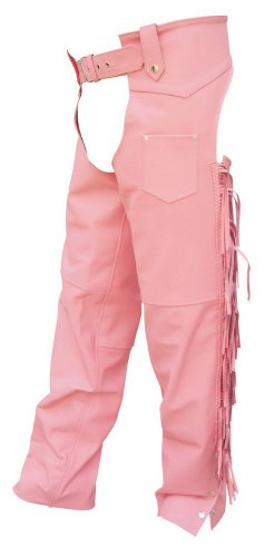 Women's AL2422 chaps with braid, fringe X-Small Pink by Allstate Leather