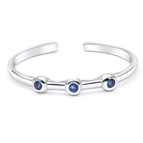 KEZEF Creations High Polished Sterling Silver Toe Ring 3 Stone Simulated Blue Sapphire Rd 1.1mm
