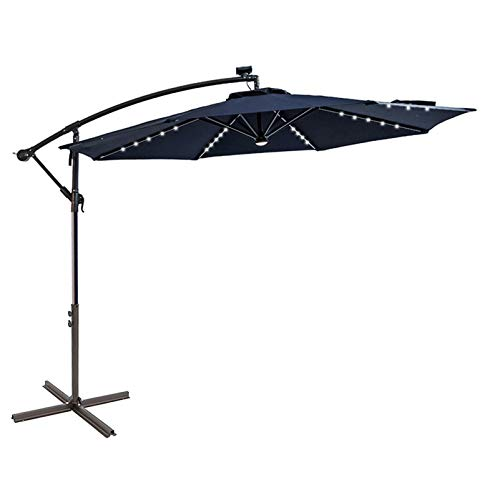C-Hopetree 3m Offset Cantilever Outdoor Patio Umbrella with Solar LED Lights with Cross Base Stand
