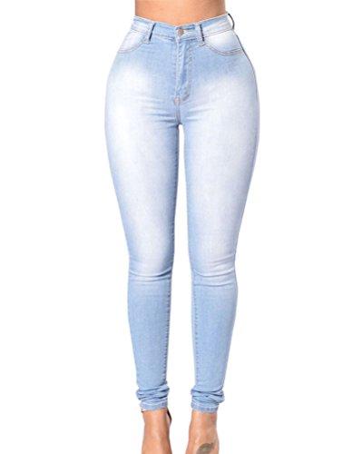 Suncaya Vaqueros Skinny Push-up Cintura Alta Elástico Jeans para Mujer Azul Claro