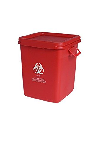 Assembled 28 Gallon Medical Waste Container, Red